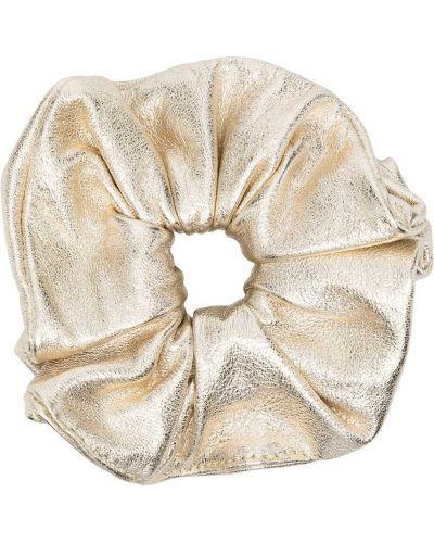 Желтая кожаная резинка для волос на резинке Manokhi