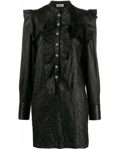 Черное кожаное платье с рукавами с оборками на пуговицах Zadig&voltaire