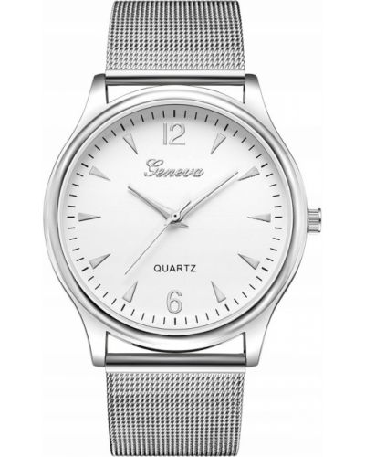 Szary klasyczny zegarek srebrny Geneva