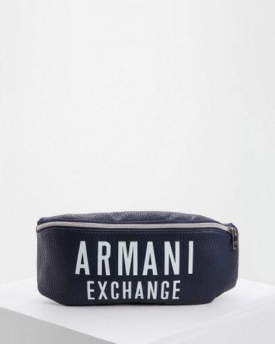 Спортивная сумка поясная черная Armani Exchange