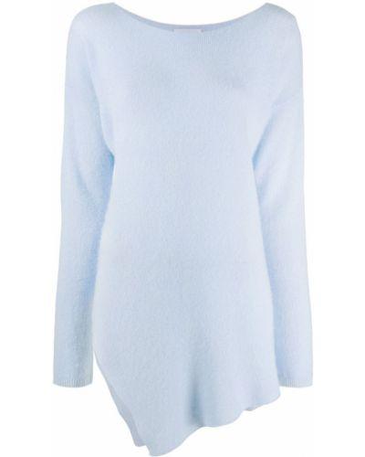 Асимметричный шерстяной синий джемпер круглый Dondup