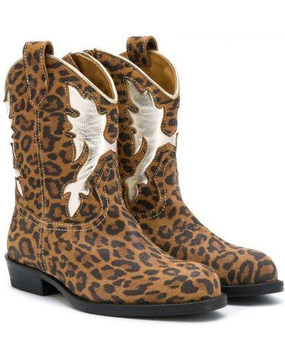 Brązowy kowboj buty z ostrym nosem z prawdziwej skóry Gallucci Kids