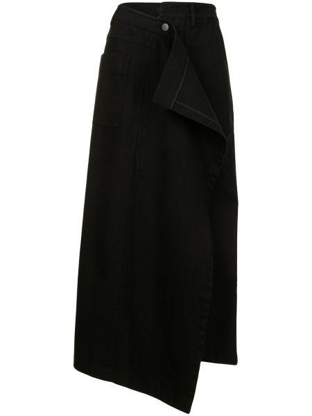 Асимметричная хлопковая черная юбка миди Goen.j