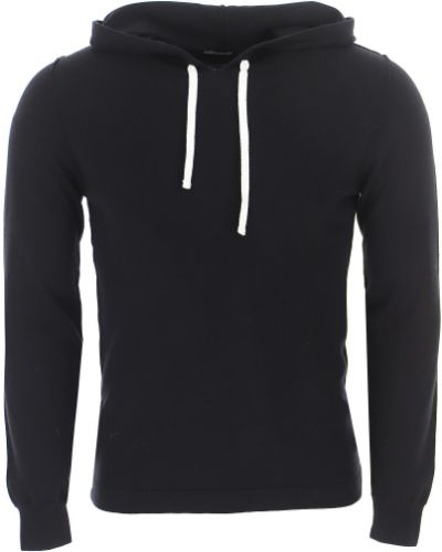 Czarny sweter z kapturem bawełniany Paolo Pecora