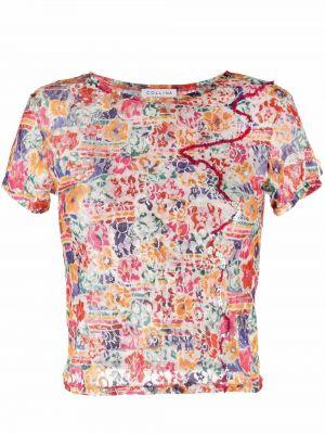 T-shirt w kwiaty - żółta Collina Strada