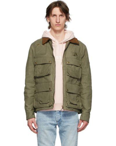 Zielony bawełna z rękawami bawełna długa kurtka Belstaff