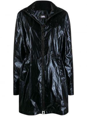 Czarny długi płaszcz z nylonu z długimi rękawami Karl Lagerfeld