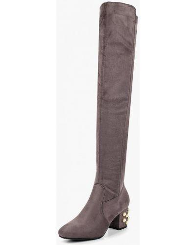 Ботфорты на каблуке серые замшевые Ws Shoes