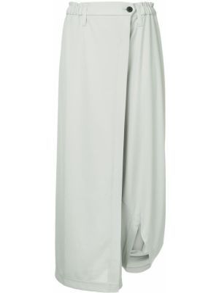 Серые драповые свободные брюки с запахом с поясом 132 5. Issey Miyake