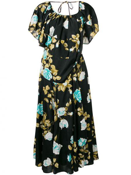Czarna sukienka mini rozkloszowana krótki rękaw Junya Watanabe