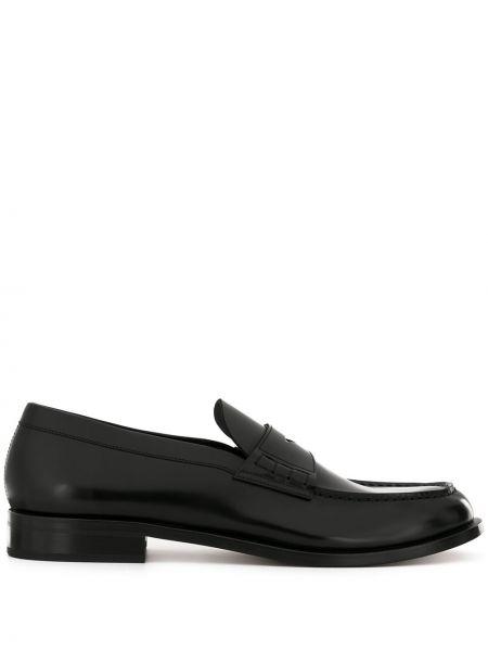 Loafers skórzany czarny Giorgio Armani