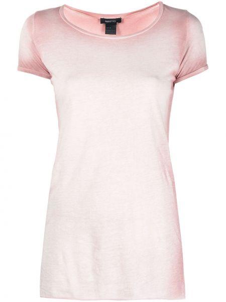 Хлопковая прямая розовая с рукавами футболка Avant Toi