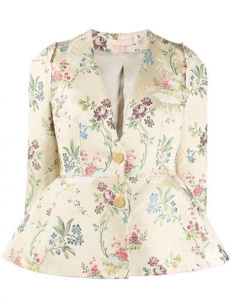 Шелковый приталенный удлиненный пиджак с баской Brock Collection