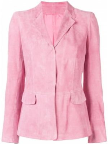 Розовый приталенный пиджак с воротником с карманами Sylvie Schimmel
