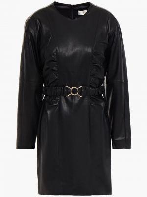 Кожаное черное платье мини с поясом Ronny Kobo