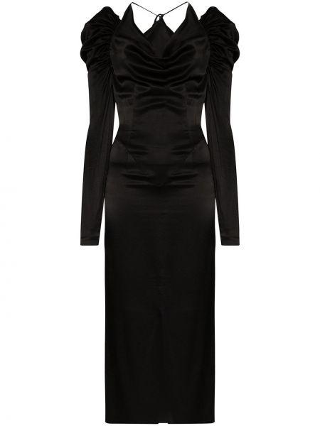 Платье миди с открытыми плечами черное Matériel