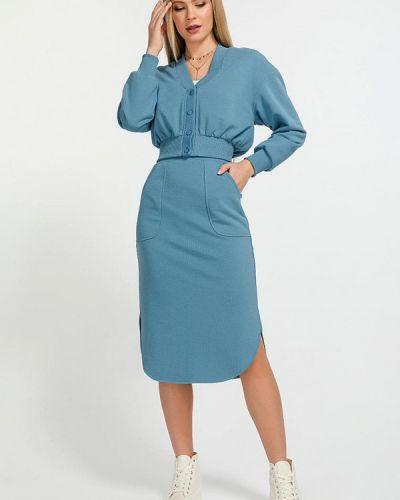 Костюмный синий юбочный костюм Clever Woman Studio