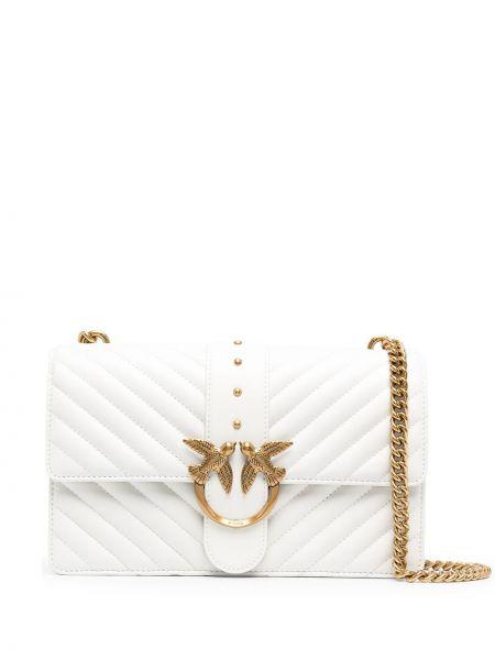 Кожаная стеганая белая сумка через плечо Pinko