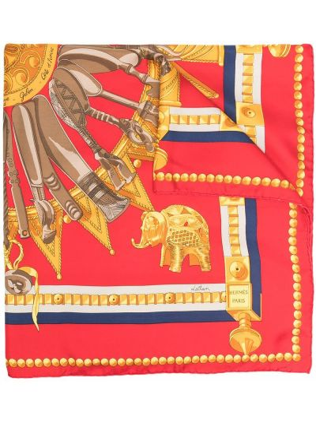 Красный шелковый платок Hermes