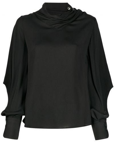 Прямой шелковый черный джемпер с драпировкой Tela