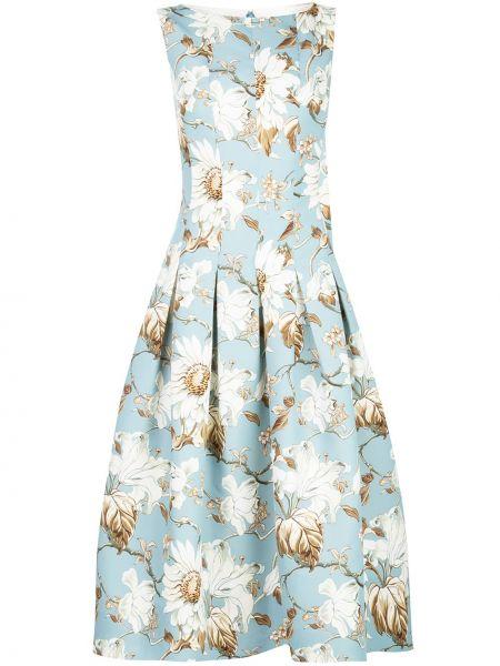 Приталенное платье без рукавов с вырезом с карманами Oscar De La Renta