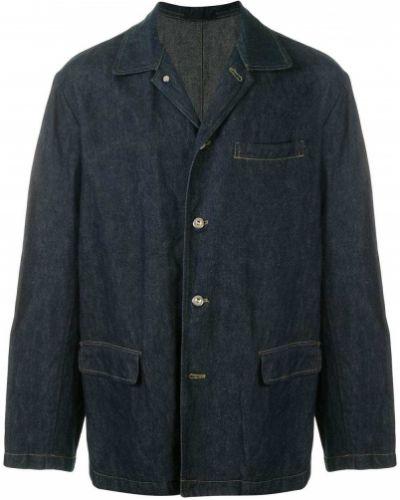 Прямая синяя джинсовая куртка на пуговицах с карманами Yohji Yamamoto Pre-owned