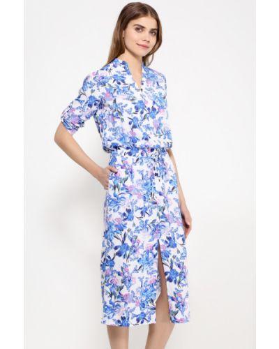 Вечернее платье миди с цветочным принтом с V-образным вырезом Finn Flare