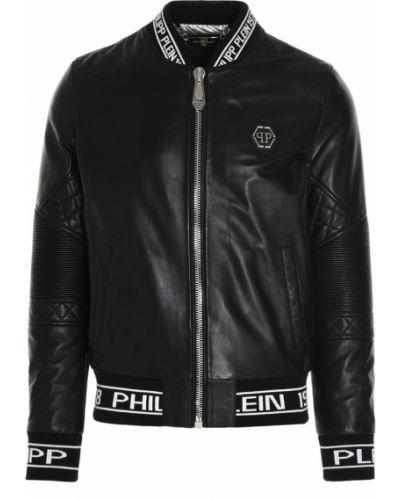 Czarna kurtka sportowa srebrna z printem Philipp Plein