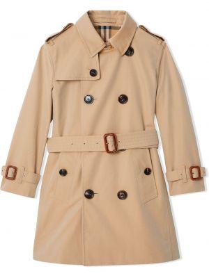 Бежевое пальто на пуговицах из вискозы Burberry Kids
