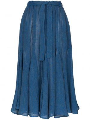 Юбка миди с карманами - синяя Lisa Marie Fernandez