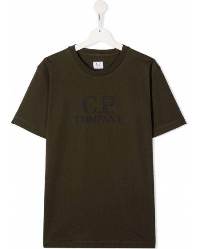 С рукавами прямая зеленая футболка с вырезом Cp Company Kids