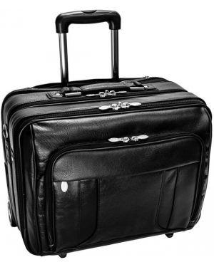 Czarna walizka skórzana oversize Mcklein