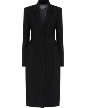 Шерстяное черное пальто классическое Mugler