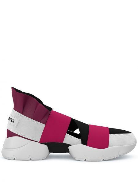 Wysoki sneakersy skórzane różowy Emilio Pucci