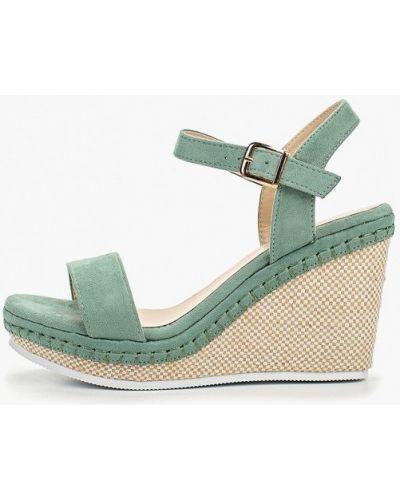 Босоножки на каблуке зеленый замшевые Ideal Shoes®