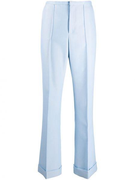 Синие шерстяные расклешенные брюки с потайной застежкой Philosophy Di Lorenzo Serafini