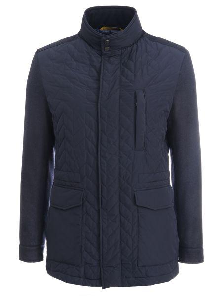 Синяя стеганая куртка с поясом на молнии с воротником Canali