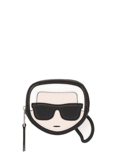 Черный кожаный кошелек с подкладкой из натуральной кожи Karl Lagerfeld