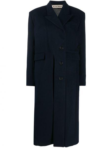 Однобортное синее шерстяное длинное пальто с карманами Ottolinger
