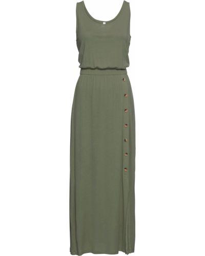 Зеленое платье макси на пуговицах Bonprix