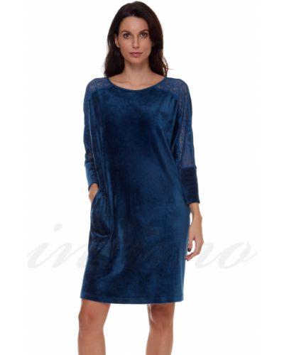 Велюровое платье - синее Anabel Arto