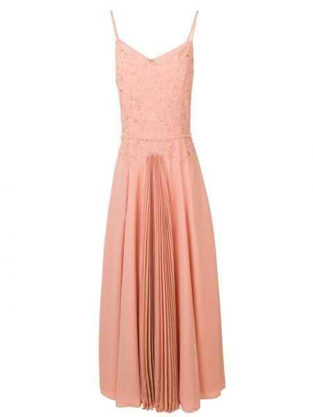 Розовое тонкое платье миди на бретелях на молнии Noon By Noor
