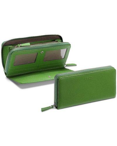 Кожаный кошелек зеленый летний Ecco