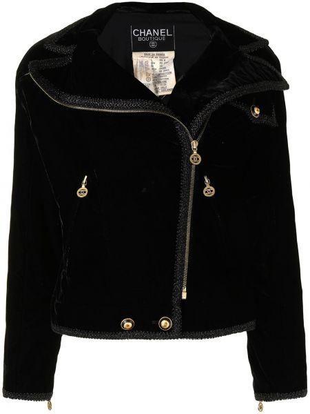 Черная спортивная куртка на молнии байкерская Chanel Pre-owned