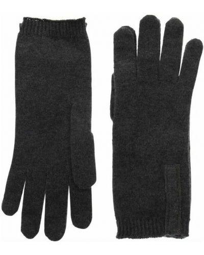 Czarne z kaszmiru rękawiczki Brunello Cucinelli