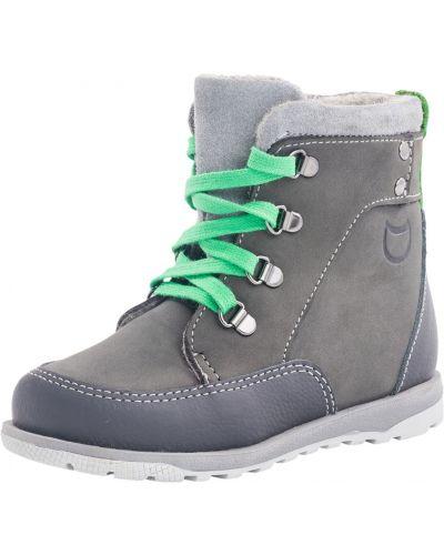 Серые кожаные ботинки на молнии котофей