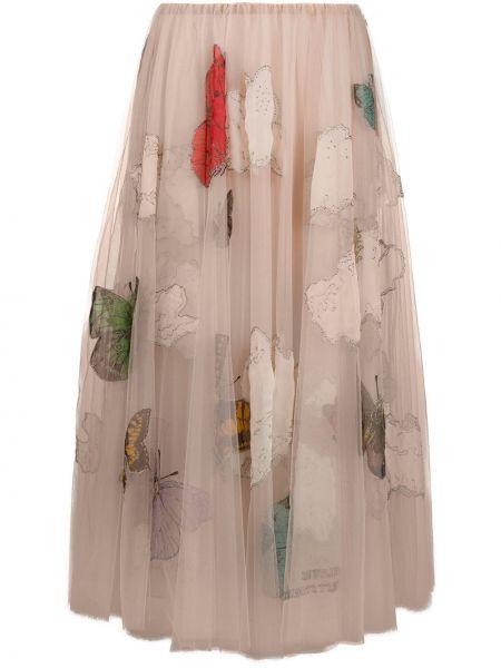 Spódnica midi plisowana z nadrukiem Valentino