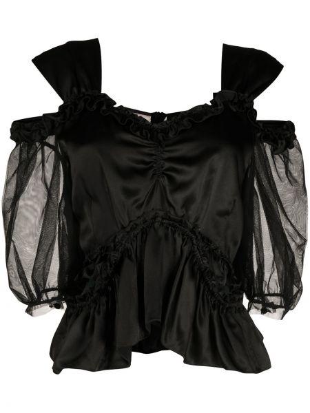 Блузка с открытыми плечами - черная Simone Rocha
