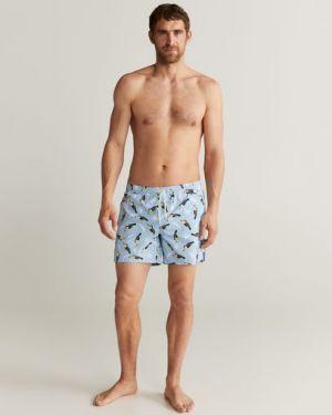 Синий повседневный купальник с карманами с рисунком Mango