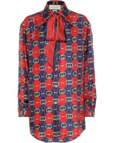 Koszula z jedwabiu do pracy z printem Gucci